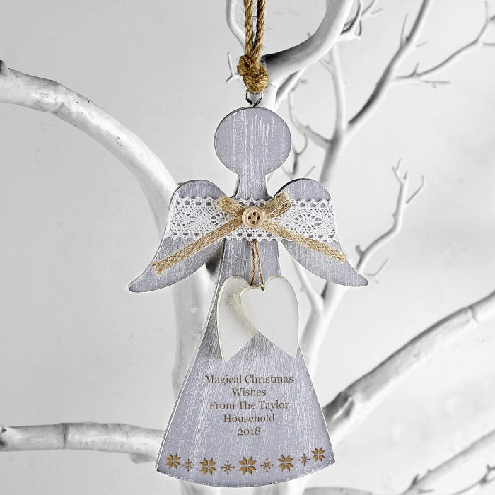 Personalised Snowflake Wooden Angel Decoration