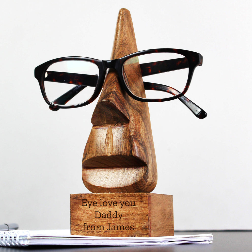 Personalised Any Message Wooden Nose-Shaped Glasses Holder