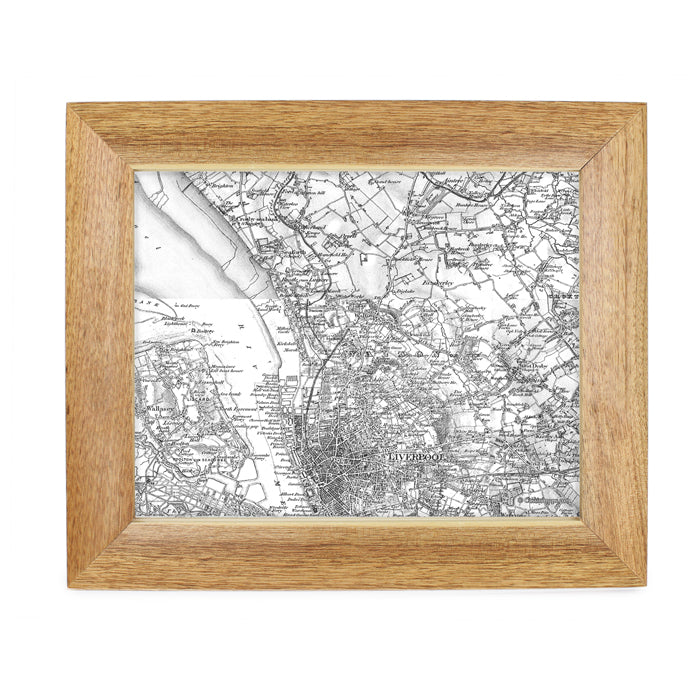 Personalised Postcode Map 10x8 Wooden Frame - Old Series