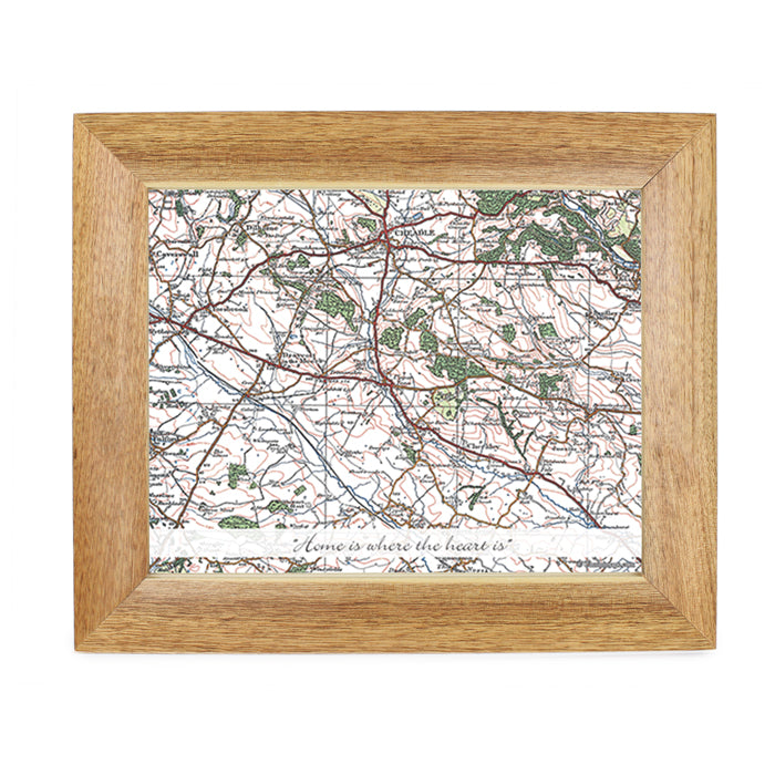 Personalised Postcode Map 10x8 Wooden Photo Frame - Popular Edition With Message