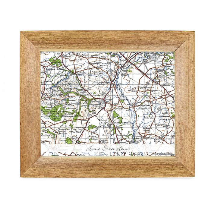 Personalised Postcode Map 10x8 Wooden Photo Frame - New Popular Edition With Message