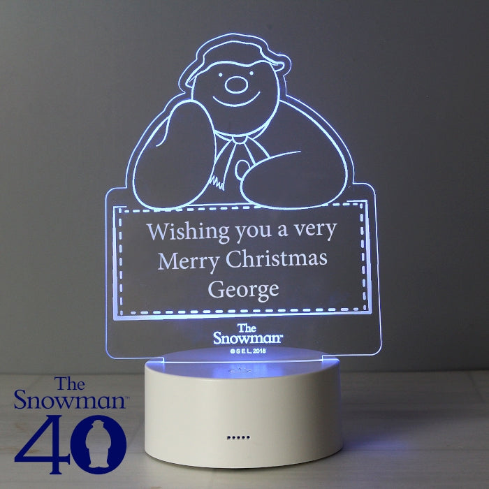 1239a502a0e0f Personalised The Snowman LED Colour Changing Decoration & Night Light