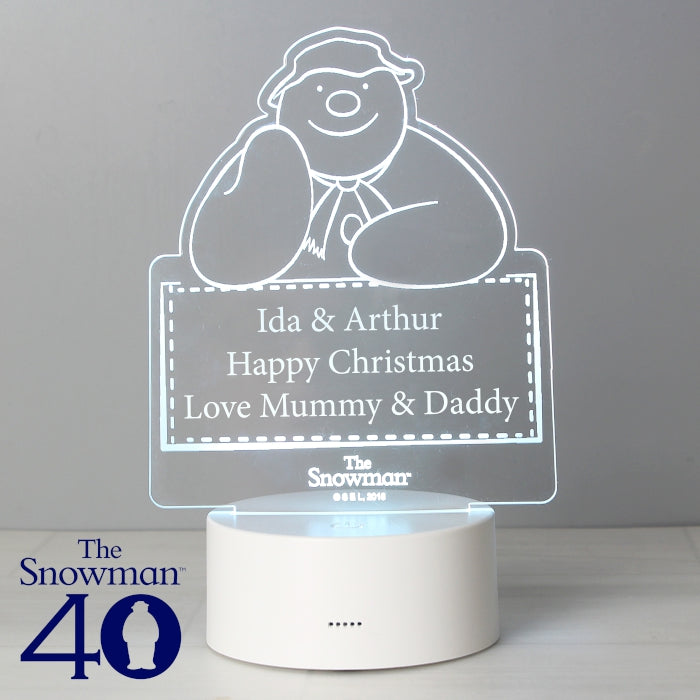 Personalised The Snowman LED Colour Changing Decoration & Night Light