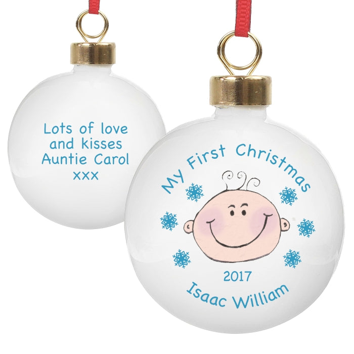 Personalised Baby Boy My First Christmas Bauble
