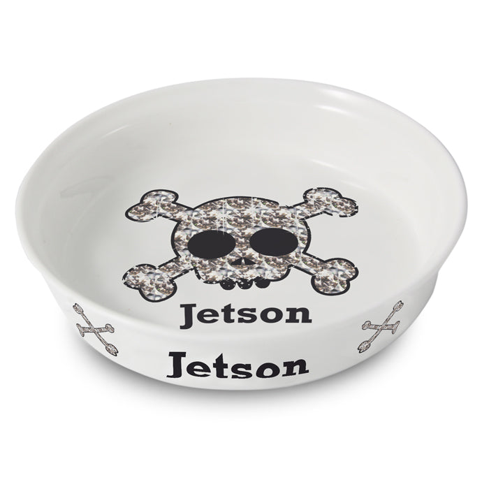 Personalised Bling Skull Dog Bowl