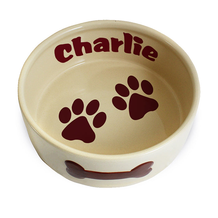 Personalised Large Brown Paws Dog Bowl