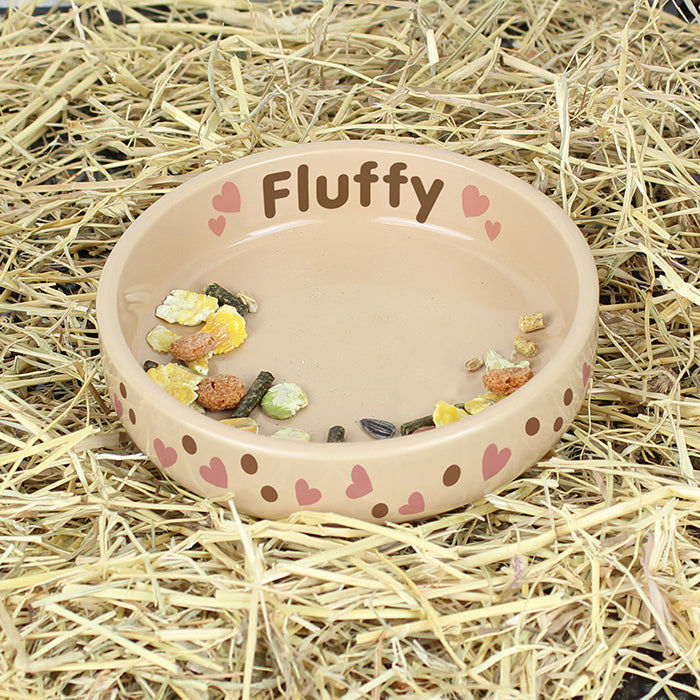 Personalised Dotty Heart Small Brown Pet Bowl