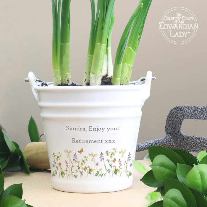 Personalised Country Diary Wild Flowers Porcelain Bucket