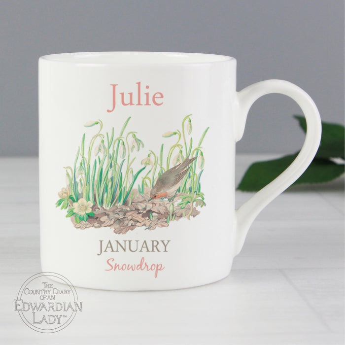 Personalised Country Diary 'January Flower Of The Month' Balmoral Mug