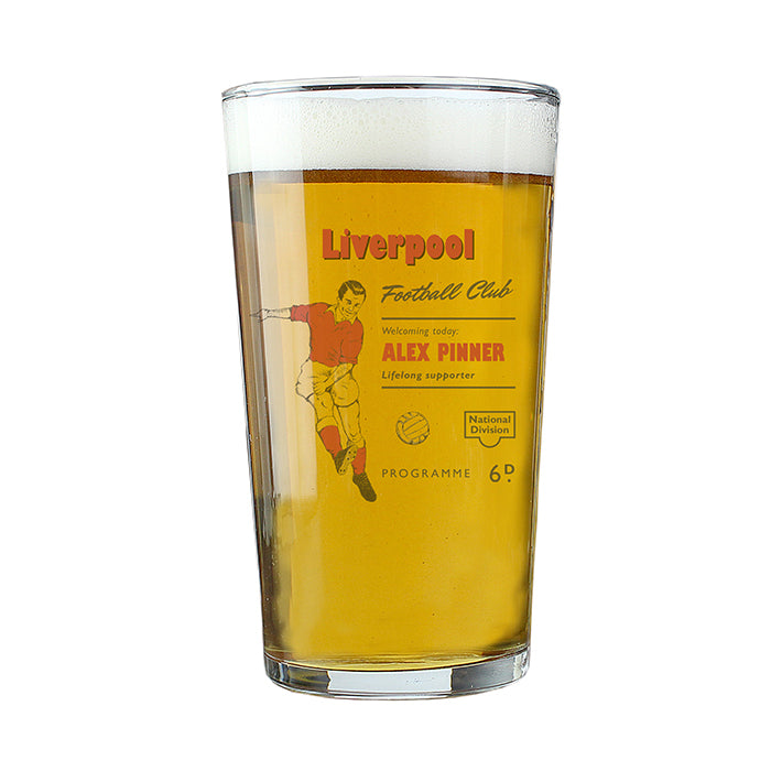 Personalised Vintage Football Red Supporter's Pint Glass