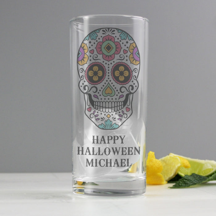Personalised Sugar Skull Hi Ball Glass