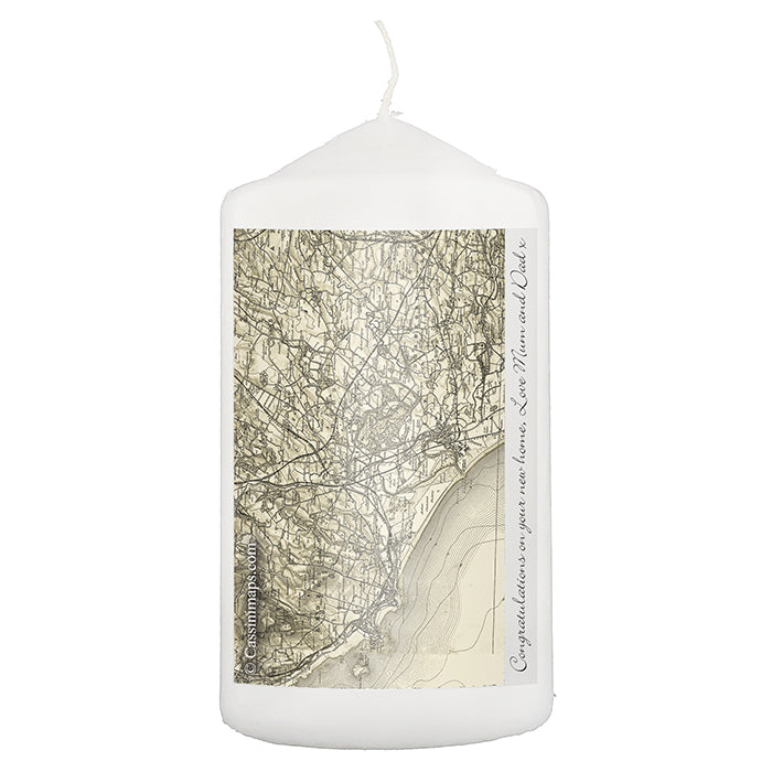 Personalised 1896 - 1904 Revised New Map Candle