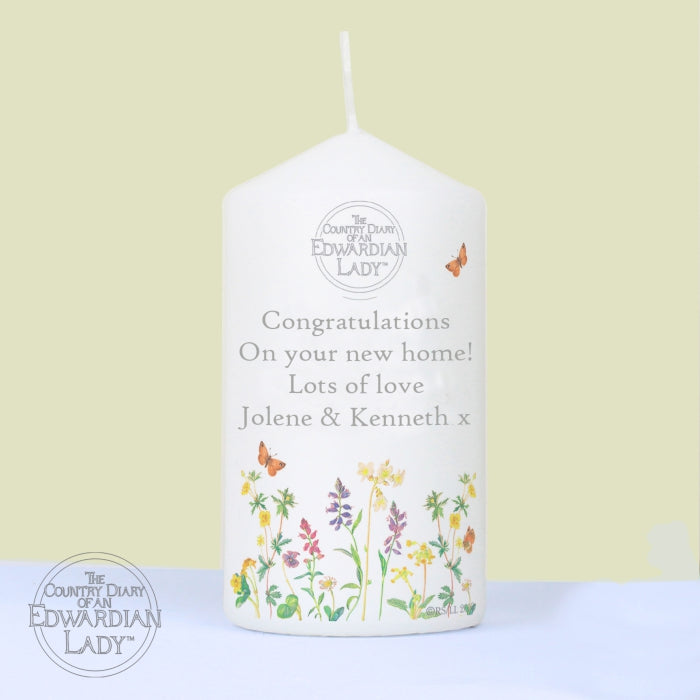 Personalised Country Diary Wild Flowers Candle