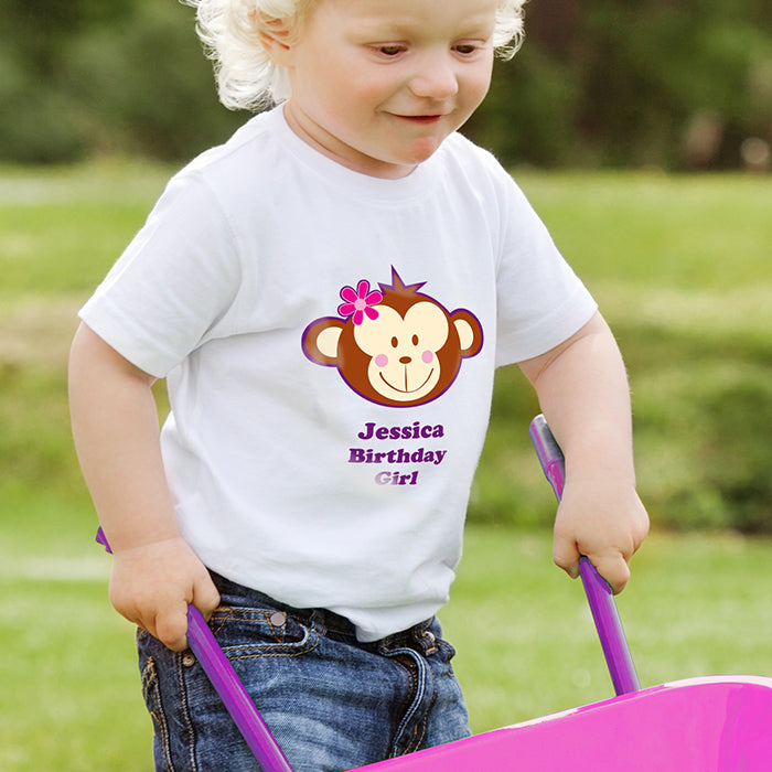 Personalised Monkey Girl Tshirt 1-2 years