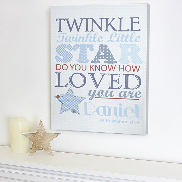 Personalised Twinkle Boys Canvas