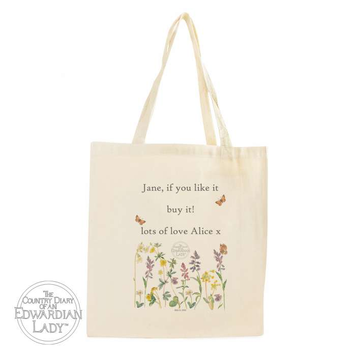 Personalised Country Diary Wild Flowers Cotton Bag
