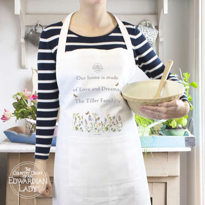 Personalised Country Diary Wild Flowers Apron