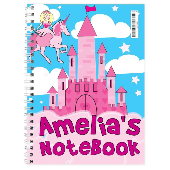 Personalised Princess & Unicorn A5 Notebook
