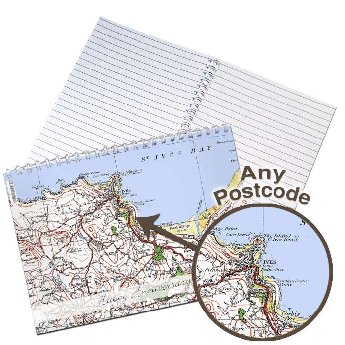 Personalised 1919 - 1926 Popular Edition Map A5 Notebook