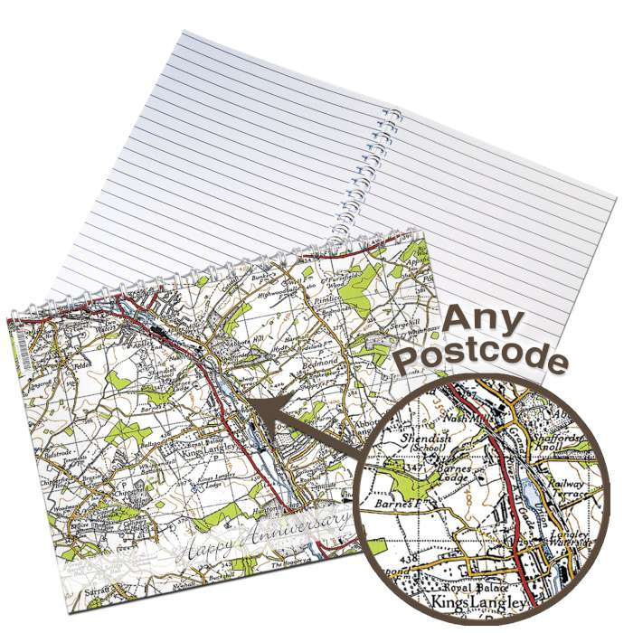 Personalised 1945 - 1948 New Popular Map A5 Notebook