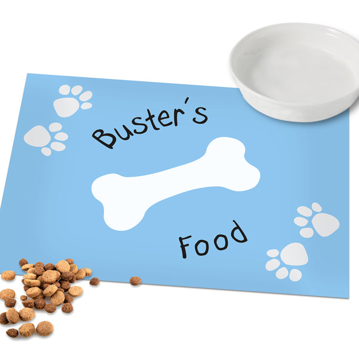 Personalised Blue Paw Print Dog Placemat