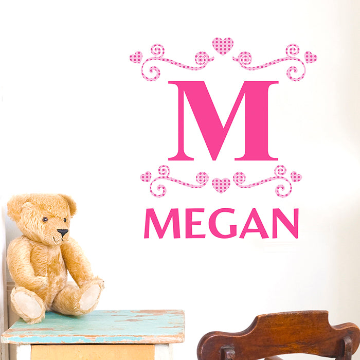 Personalised Girls Initial Wall Art
