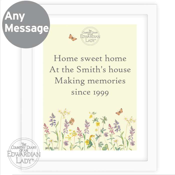 Personalised Country Diary Wild Flowers White Framed Poster Print