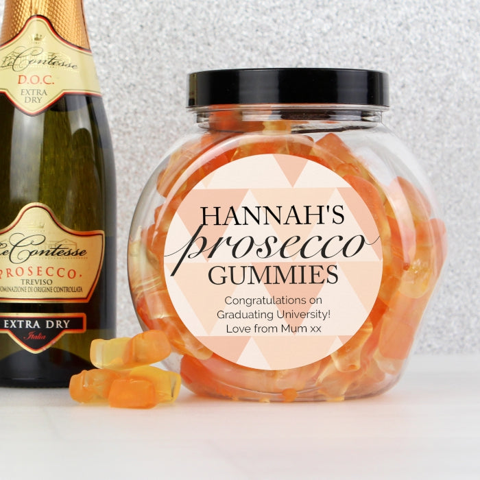 Personalised Geometric Rose Gold Prosecco Gummies Jar