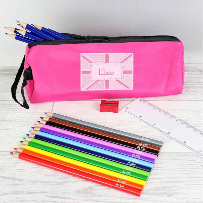 Pink Patchwork Union Jack Pencil Case with Personalised Pencils & Crayons