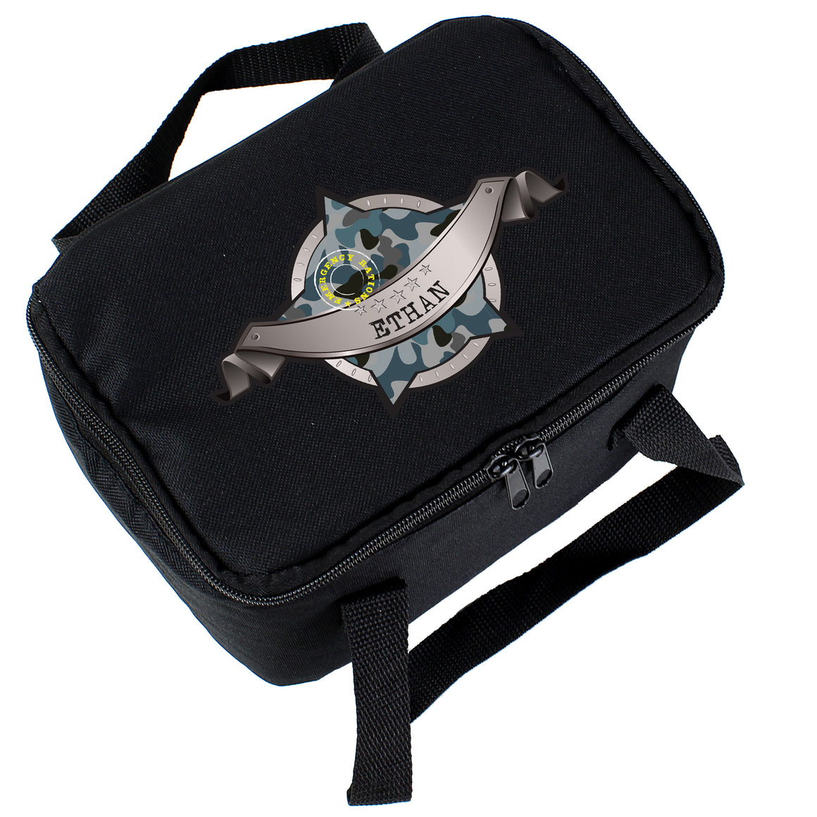 ersonalised Army Camo Black Lunch Bag