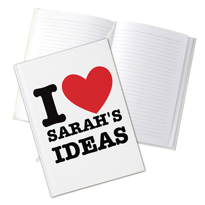 Personalised I HEART Hardback A5 Notebook