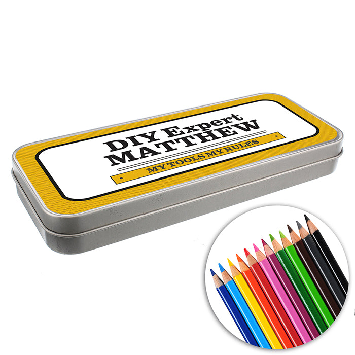 Personalised Man at Work Pencil Tin with Pencil Crayons