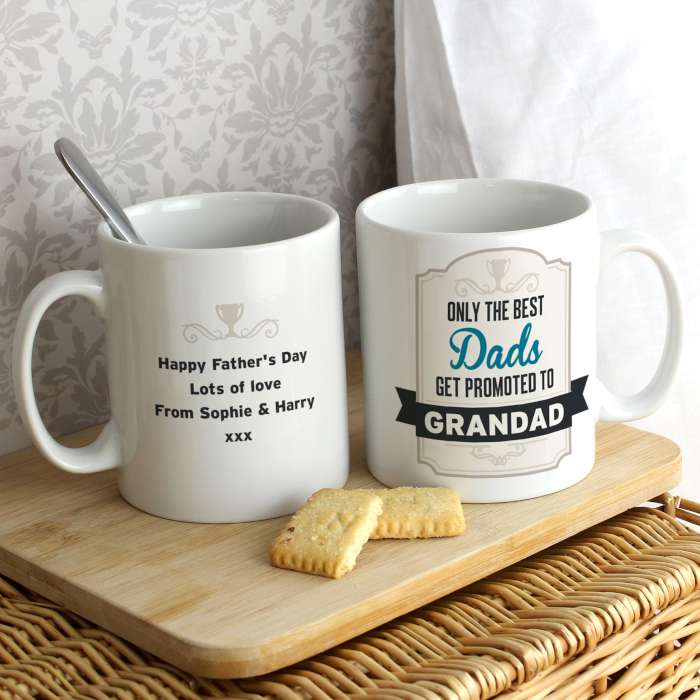 Personalised Best Dads Get Promoted to Mug