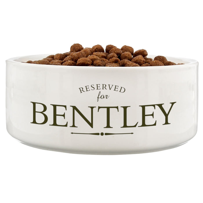 Personalised Reserved For 16cm Large White Pet Bowl