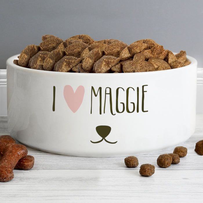 Personalised Dog Features 16cm Large White Pet Bowl