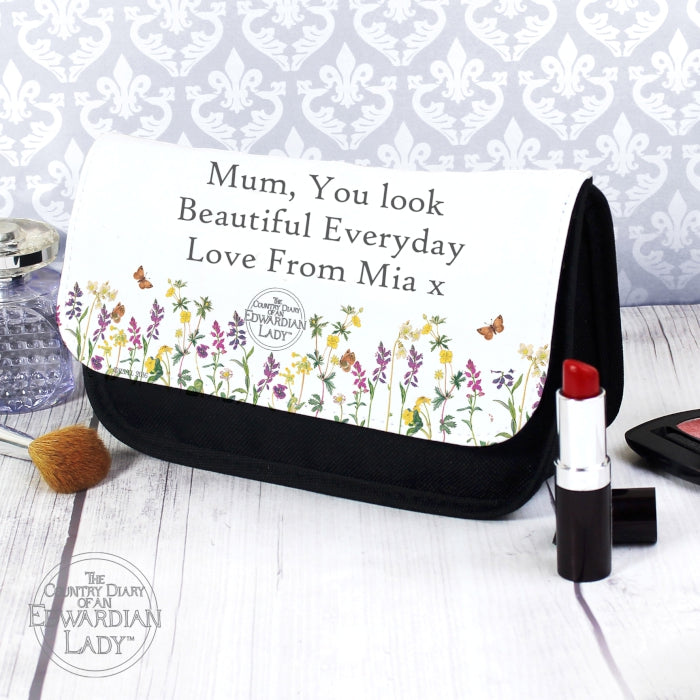 Personalised Country Diary Wild Flowers Make Up Bag