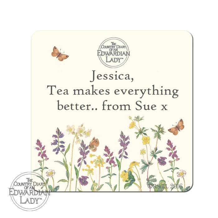 Personalised Country Diary Wild Flowers Coaster
