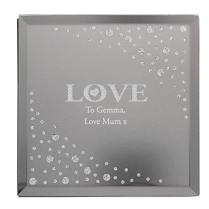 Personalised LOVE Diamante Glass Trinket Box