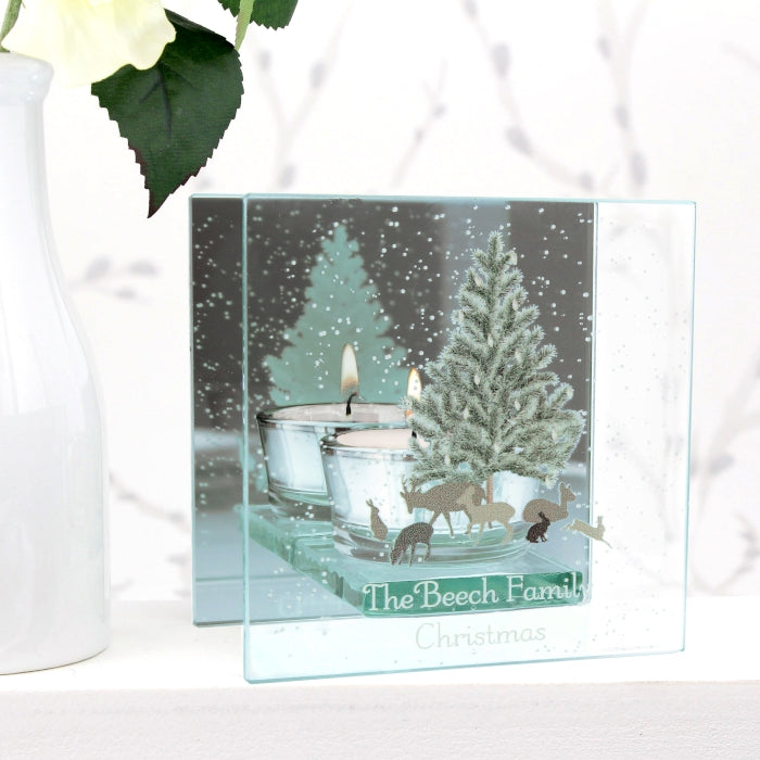 Personalised A Winter's Night Mirrored Glass Tea Light Holder
