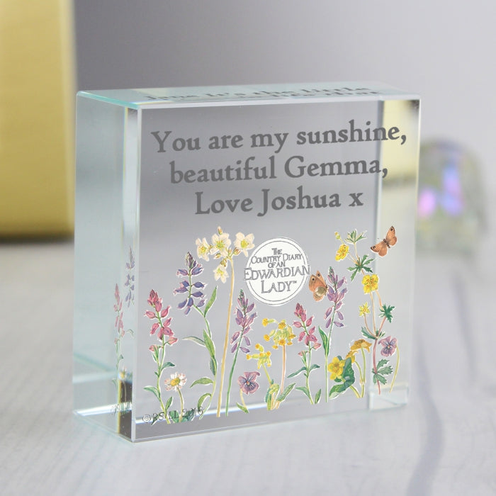 Personalised Country Diary Wild Flowers Medium Crystal Token