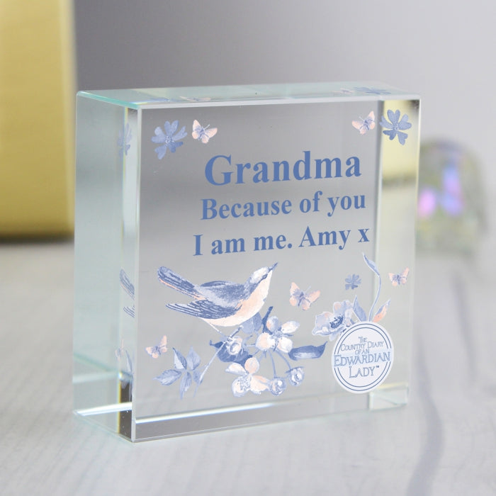 Personalised Country Diary Blue Blossom Medium Crystal Token