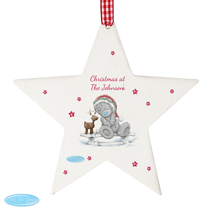 Personalised Me To You Reindeer Wooden Star Decoration