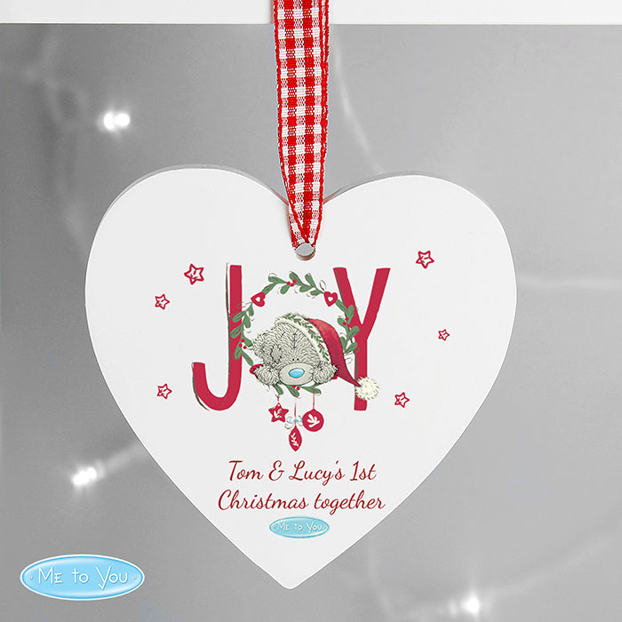 Personalised MeTo You JOY Wooden Heart Decoration