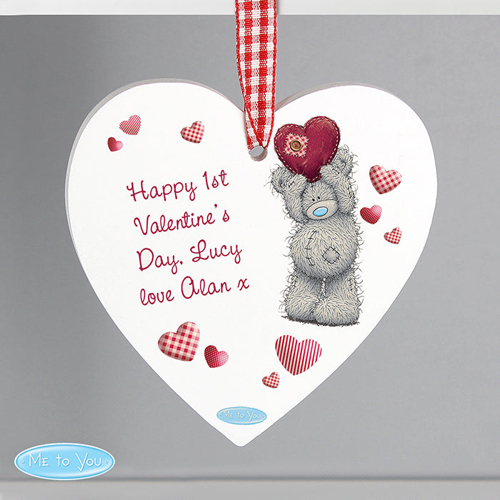 Personalised Me To You Heart Wooden Decoration
