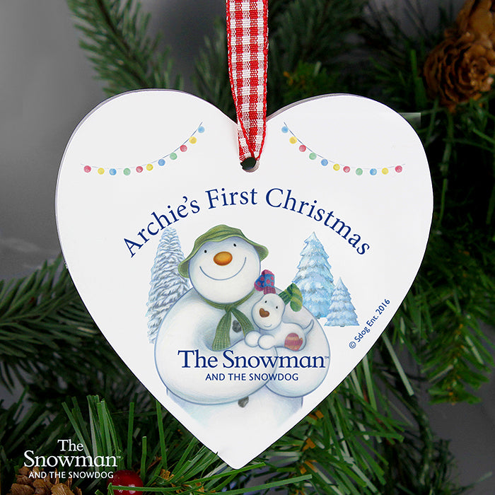 Personalised The Snowman and the Snowdog Wooden Heart Decoration