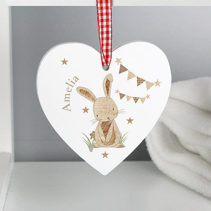 Personalised Hessian Rabbit Wooden Heart Decoration