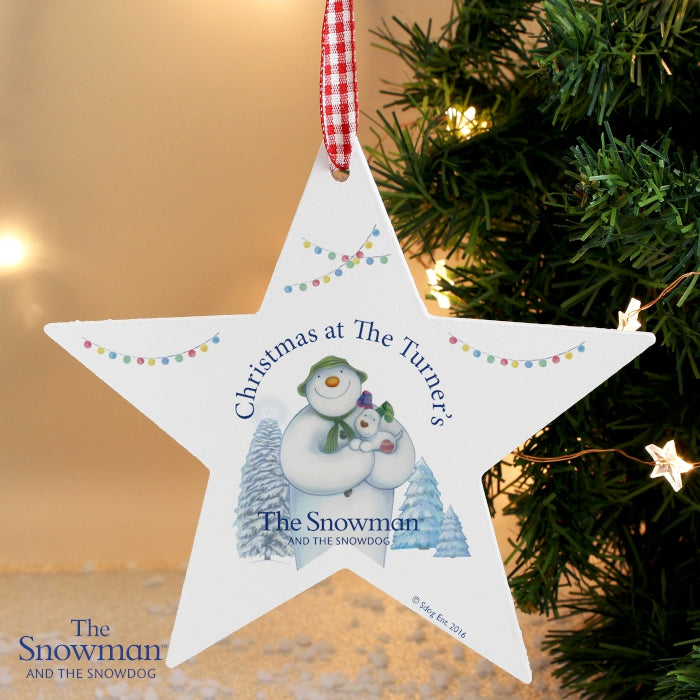 Personalised The Snowman and the Snowdog Wooden Star Decoration