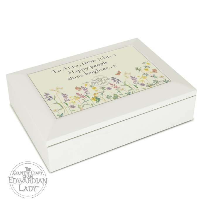 Personalised Country Diary Wild Flowers Wooden Jewellery Box