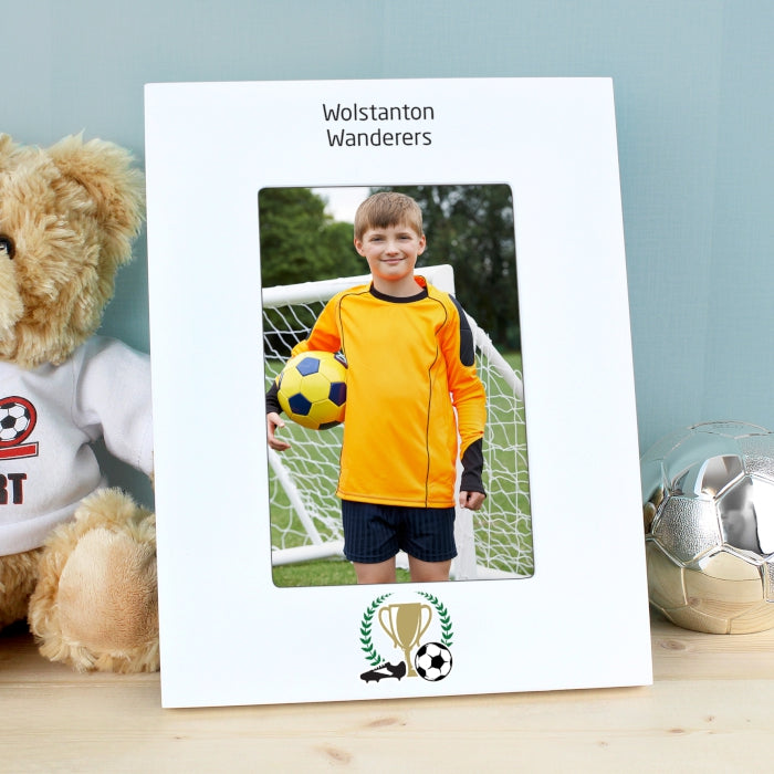 Personalised Football 4x6 White Wooden Photo Frame