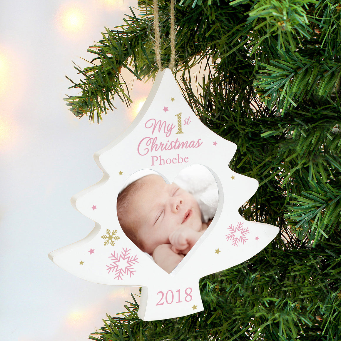 Personalised My 1st Christmas Tree Photo Frame Decoration